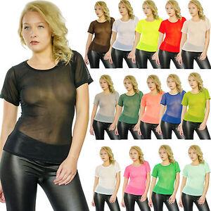Damen-Shirt-Hemd-T-Shirt-Top-Sexy-Transparent-15-versch-Farben-34-38-neonfarben