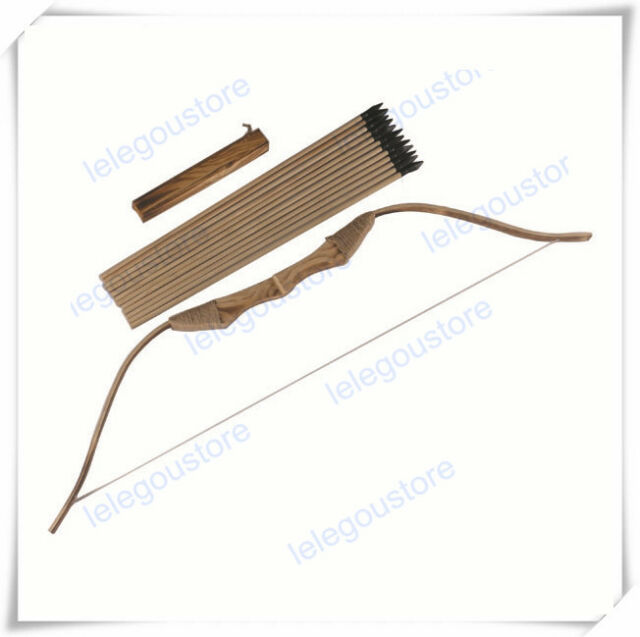 WOODEN BOW AND ARROW QUIVER set 12 ARROWS wood youth archery hunting toy gift