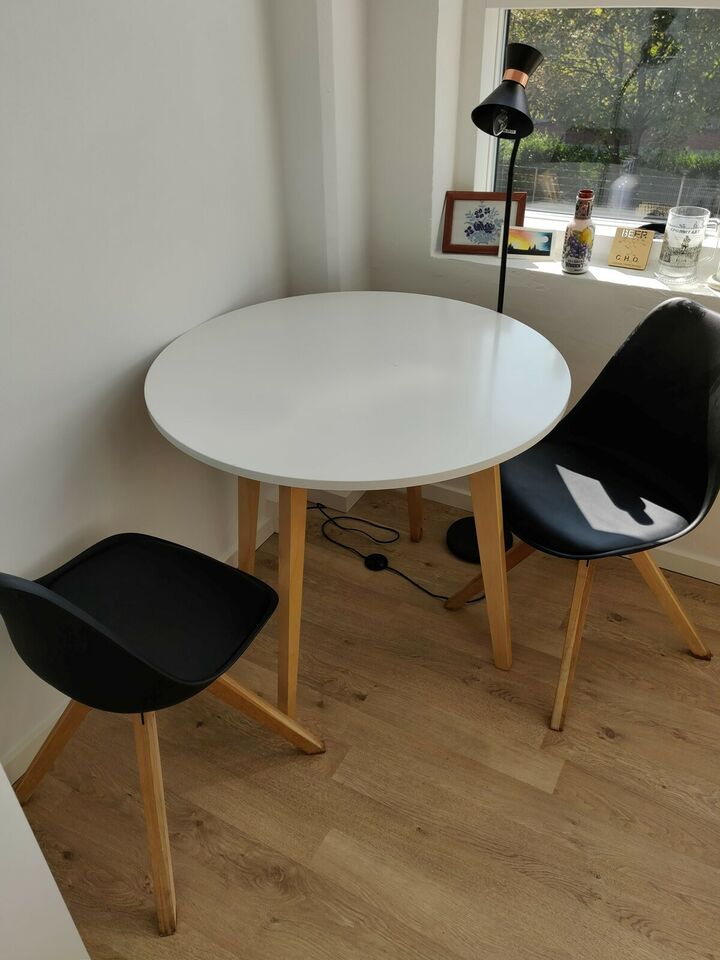 IKEA Round Table and 2 Black Chairs