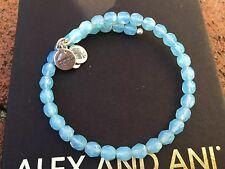 NEW ALEX and ANI SKY Blue BOHEMIAN JEWEL Crystal Beaded Silver WRAP Bracelet 💎