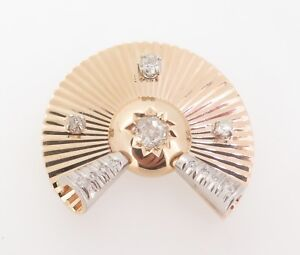 Vintage-14ct-Gold-1-20ct-Old-Cut-Diamond-set-Deco-Style-Brooch-Val-6680