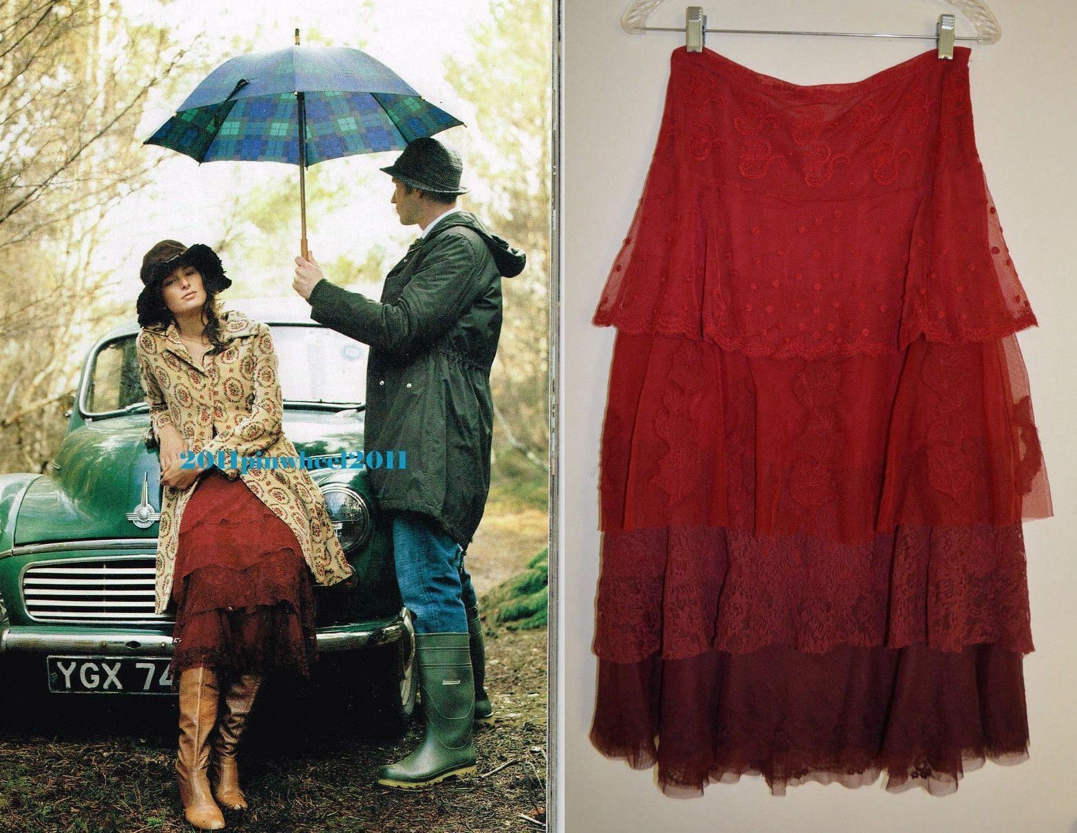 6  Anthropologie Tiered Tulle  Ruby Lace Skirt  Red
