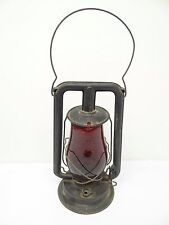 Antique Old Metal 1903 Paulls No 0 Red Glass Tubular Barn Lantern Lamp Parts