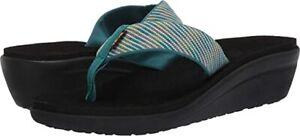 $45 New Teva Voya Wedge 9 Nitro Deep Lake women Thong Flip Flops Comfort Sandals