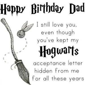 dad happy birthday harry potter funny hogwarts card black and white