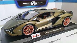 1-18-Maisto-escala-Diecast-Modelo-Coche-Lamborghini-Sian-FKP-37-en-verde