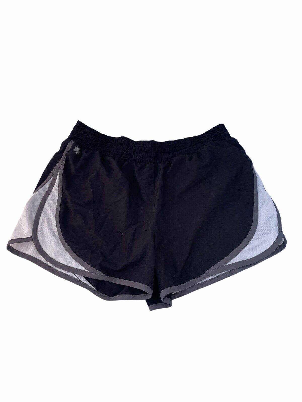 Women's TEK SHORTS Black Shorts with White & Grey Size Medium