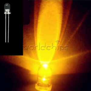 100PCS 3MM ROUND YELLOW Superbright LED Light Water Clear