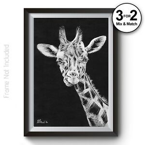Craie Girafe 100% Coton Wall Art Print-animal Giclee Quality Home Decor-afficher Le Titre D'origine Facile Et Simple à Manipuler