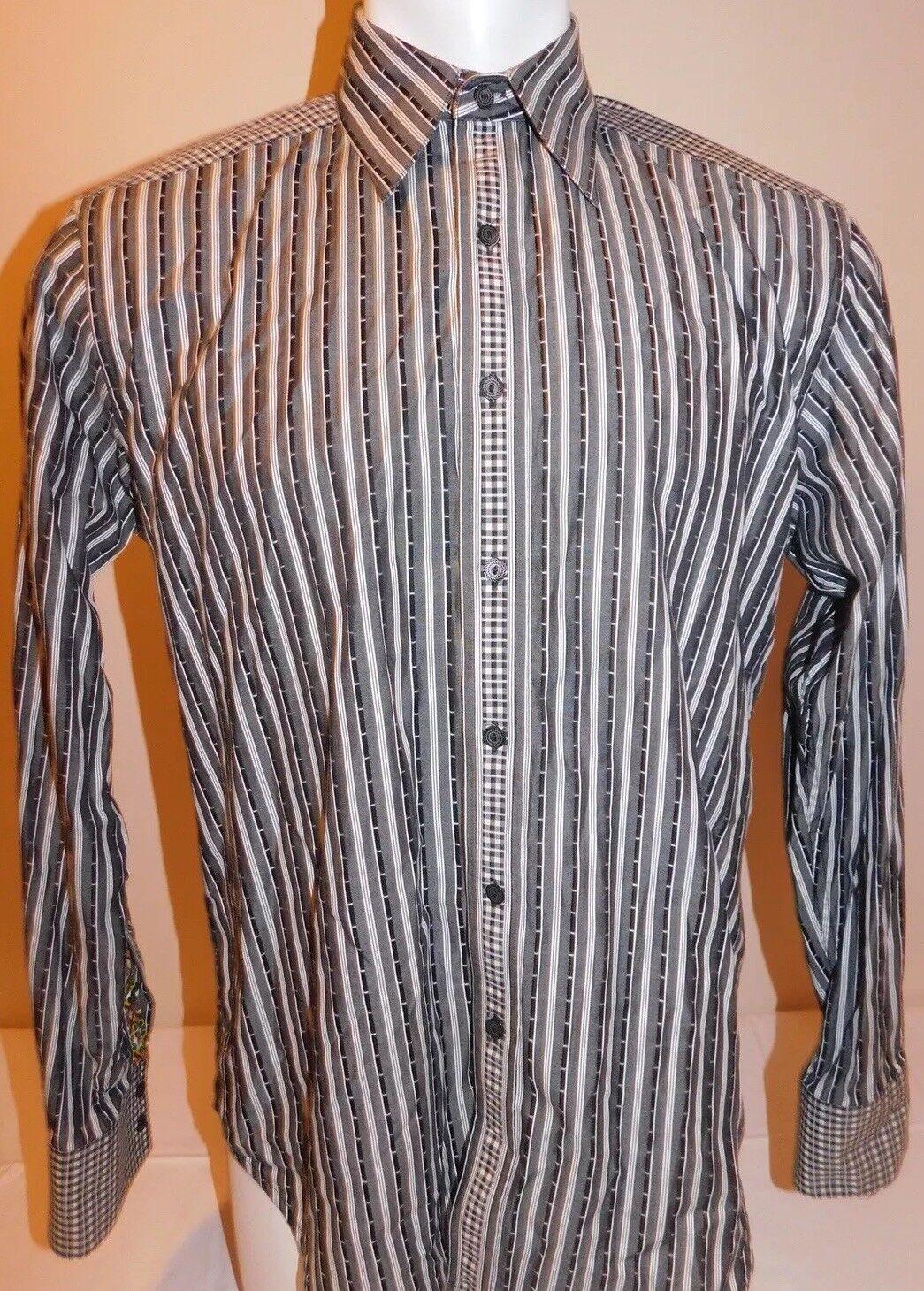 Robert Graham Mens Medium Grey Striped Long Sleeve Shirt