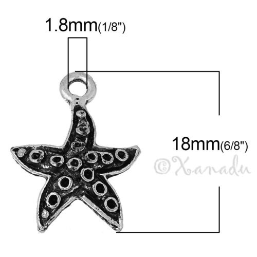 20 Or 50PCs Starfish Charm Wholesale Antiqued Silver Plated Pendants C2867-10