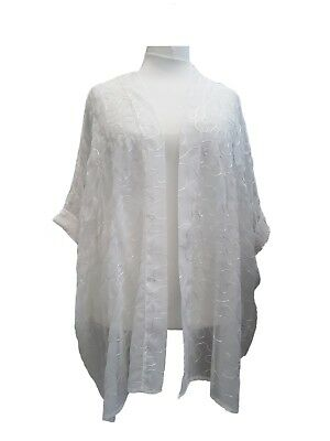 Plus Size Long Cardigan Light Loose Floaty Open Jacket Off White Embelished New