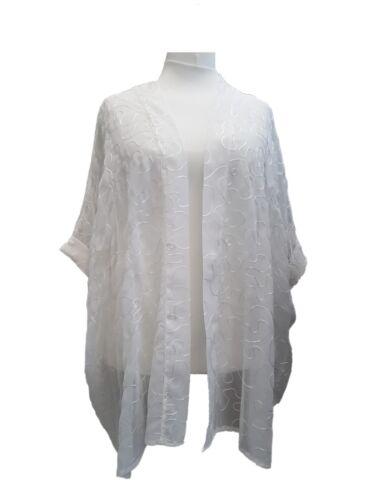 Plus size Long Cardigan Light Loose Floaty Open Jacket Off White Embelished NEW