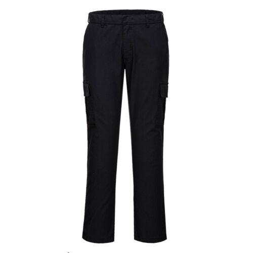 Mens Slim Fit Stretch Combat Cargo Pocket Work Trousers 6 Pockets Portwest