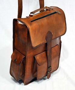 MEN S Real leather handmade messenger brown vintage satchel backpack ... e09d516209