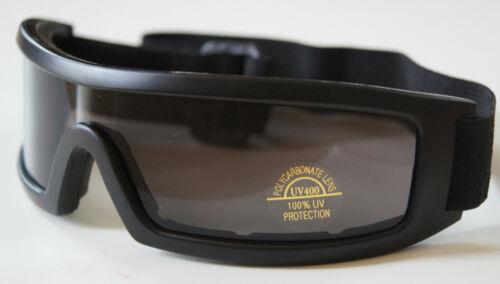 100% UV Goggle Matte Black plastic frm w/POLY CARBON smoke lens unisex one size