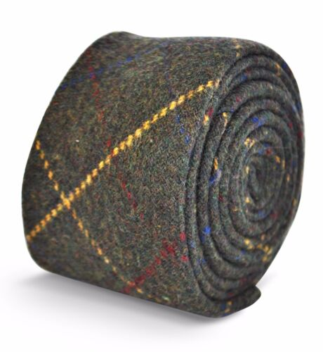 Frederick Thomas grey//green with red /& yellow check mens wool tweed tie FT3145