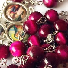 BEAUTIFUL RED Tiger Eye Jade Beads 7 SEVEN SORROWS Rosary Necklace Box Catholic