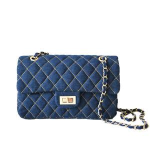 Quilted-Denim-Medium-Flap-Shoulder-Bag-Crossbody-Bag-Chain-Purse-Envelope