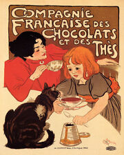 POSTER CHOCOLAT IDEAL MOTHER CHILDREN HOT COCOA CHOCOLATE VINTAGE REPRO FREE S//H