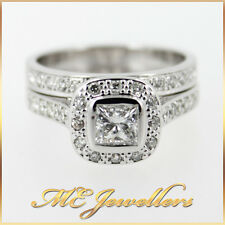 Solid 18K 18ct 18kt 750 White Gold Halo Bridal Set 0.70ct F/SI1 Centre Diamond