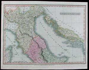 Northern-Middle-Italy-Venice-Rome-Dalmatia-Croatia-1808-Smith-old-color-map