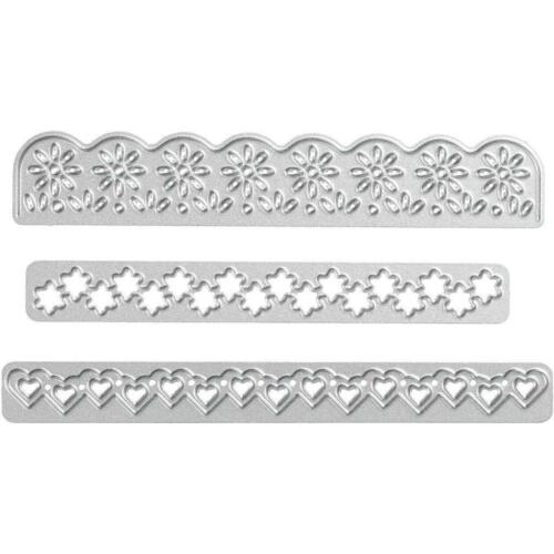 3 Borders Flowers Heart Ribbon Design Metal Die Cutting Punching Machine Plate