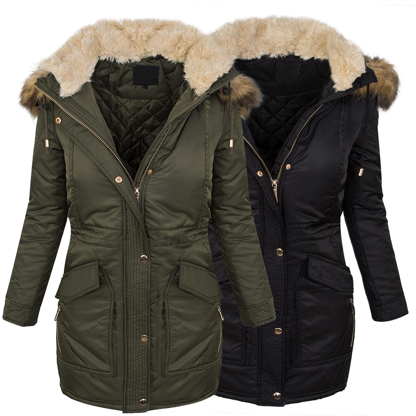 Designer femmes Winter Mantel Jacke Parka lang Winterjacke Fellkragen D-238 NEU