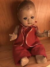 """Vintage 11"""" Composition Spooky Creepy Baby Doll Antique Strung Doll"""