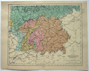 Details about Original 1878 Map of Southern Germany by William Hughes &  John Dower. Antique