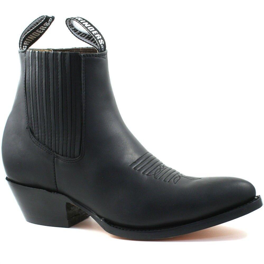 Mens Ladies Grinders Cowboy Leather Ankle Boots  Black Maverick Biker Western