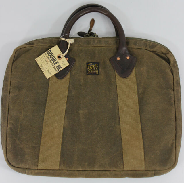 RRL Ralph Lauren Waxed Cotton Leather Briefcase Shoulder Strap Bag