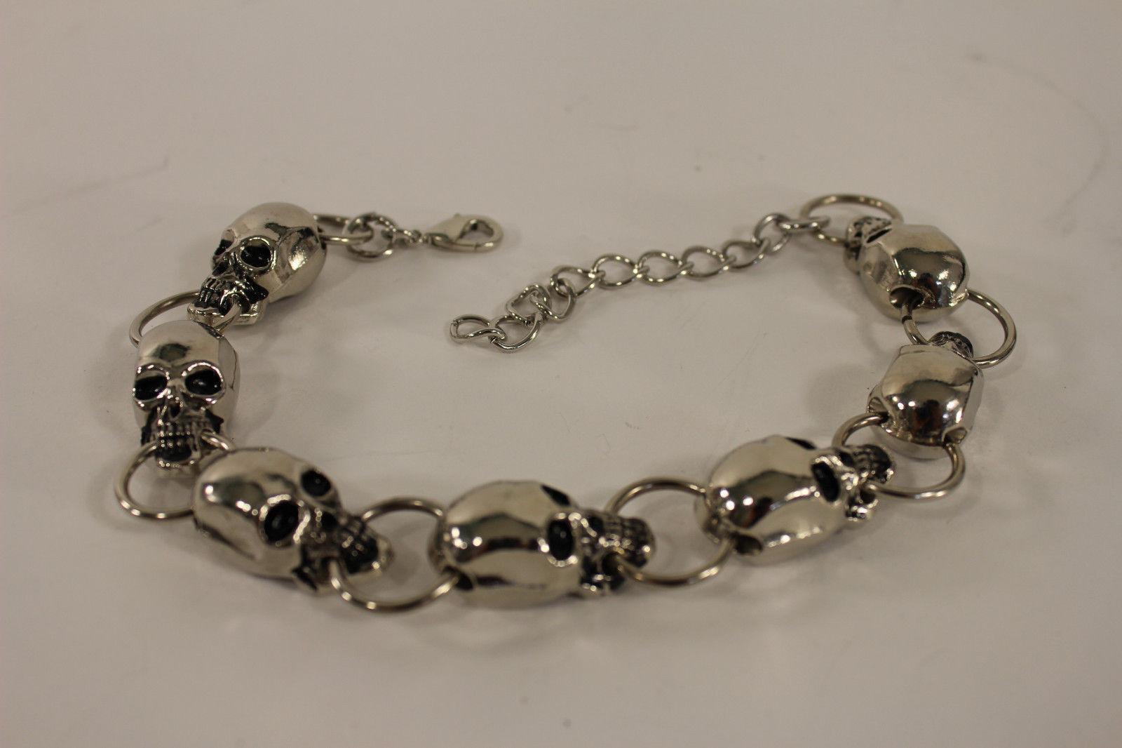 Women Boot Chain Bracelet Western Charm Jewelry Silver Skeleton Skull Pirates