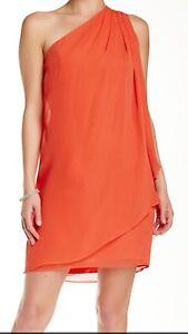 JS-Boutique-Draped-One-Shoulder-Chiffon-PROM-Dress-Size-6-Coral-Size-Zipper