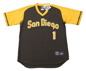 buy online 2775e b74e3 Details about OZZIE SMITH San Diego Padres 1979 Majestic Throwback Away  Baseball Jersey