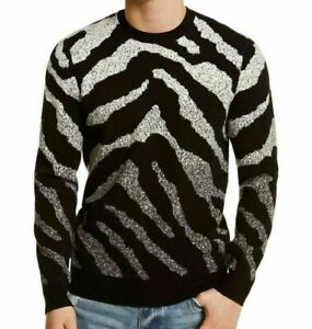 GUESS-Macy-039-s-Men-039-s-Ombre-Tiger-Stripe-Classic-fit-Sweater-Black-White-X-Large