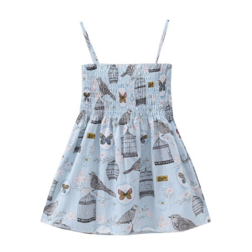 Baby Girls Infant Kids Boho Floral Dress Summer Sleeveless Sundress Casual Dress