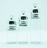 3 SIZE small glass vial pendant bottle silver SCREW CAP tube empty clear charms