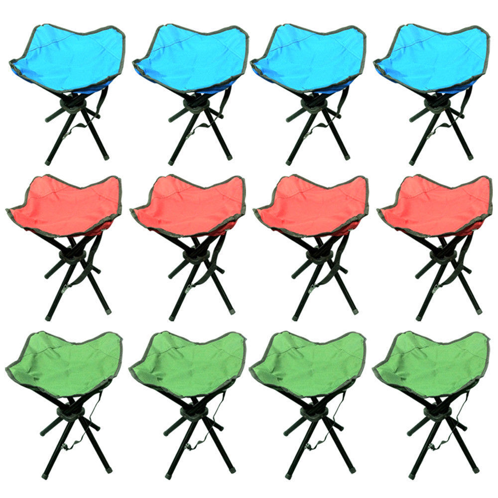 SET OF 4 PORTABLE FOLDING 4 FEET CAMPING STOOL CHAIR SEAT 3 COLOURS TRIPOD STYLE