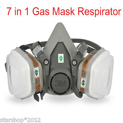 7in1 Suit Half Face Paint Spraying Gas Mask For 3M 6200+5N11+6001 Respirator