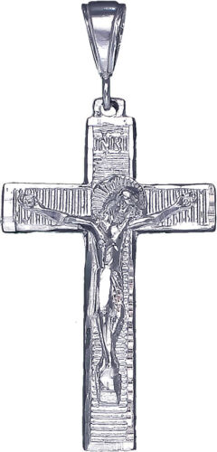 """Large Argent Sterling Crucifix Cross Charme avec Jésus Collier Pendentif 24/"""" Chaîne"""