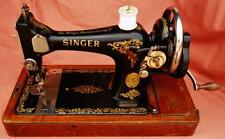 VINTAGE MANUAL WORKING SINGER SEWING MACHINE 1920 (128K) WITH GORGEOUS DECALS