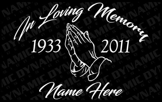 CUSTOM In Loving Memory RIP Car Decal Sticker