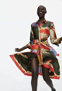 Zara-beruehmten-Scarf-Chain-Print-Tunika-Kleid-Groesse-Xs-Bnwt-Ausverkauft-mit-Etikett