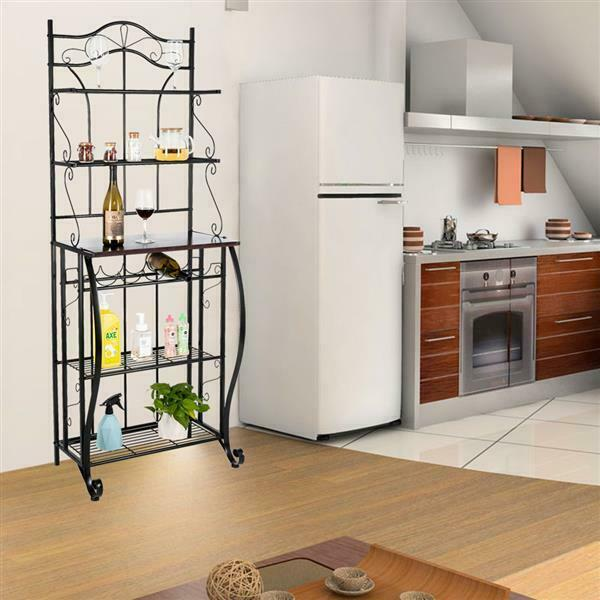 5-tier Black Metal Cappuccino Finish Shelf Kitchen Bakers Rack Scroll Design