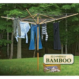 Fold Away Outdoor Clothesline Laundry Umbrella Bamboo Deluxe Clothes