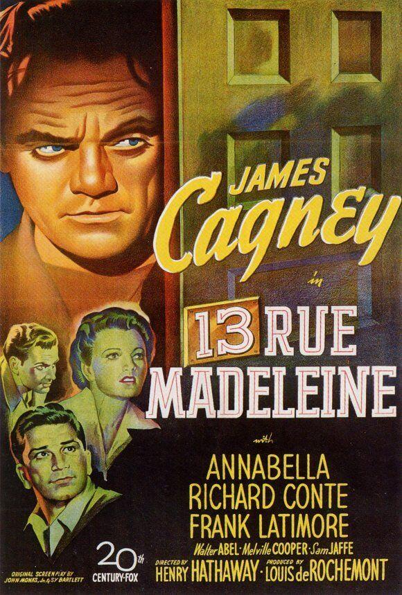 13 Rue Madeleine James Cagney vintage movie poster