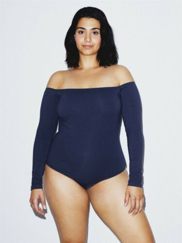 American Apparel Womens Off the Shoulder Long Slv Body Suit M Navy NEW RSA83366W