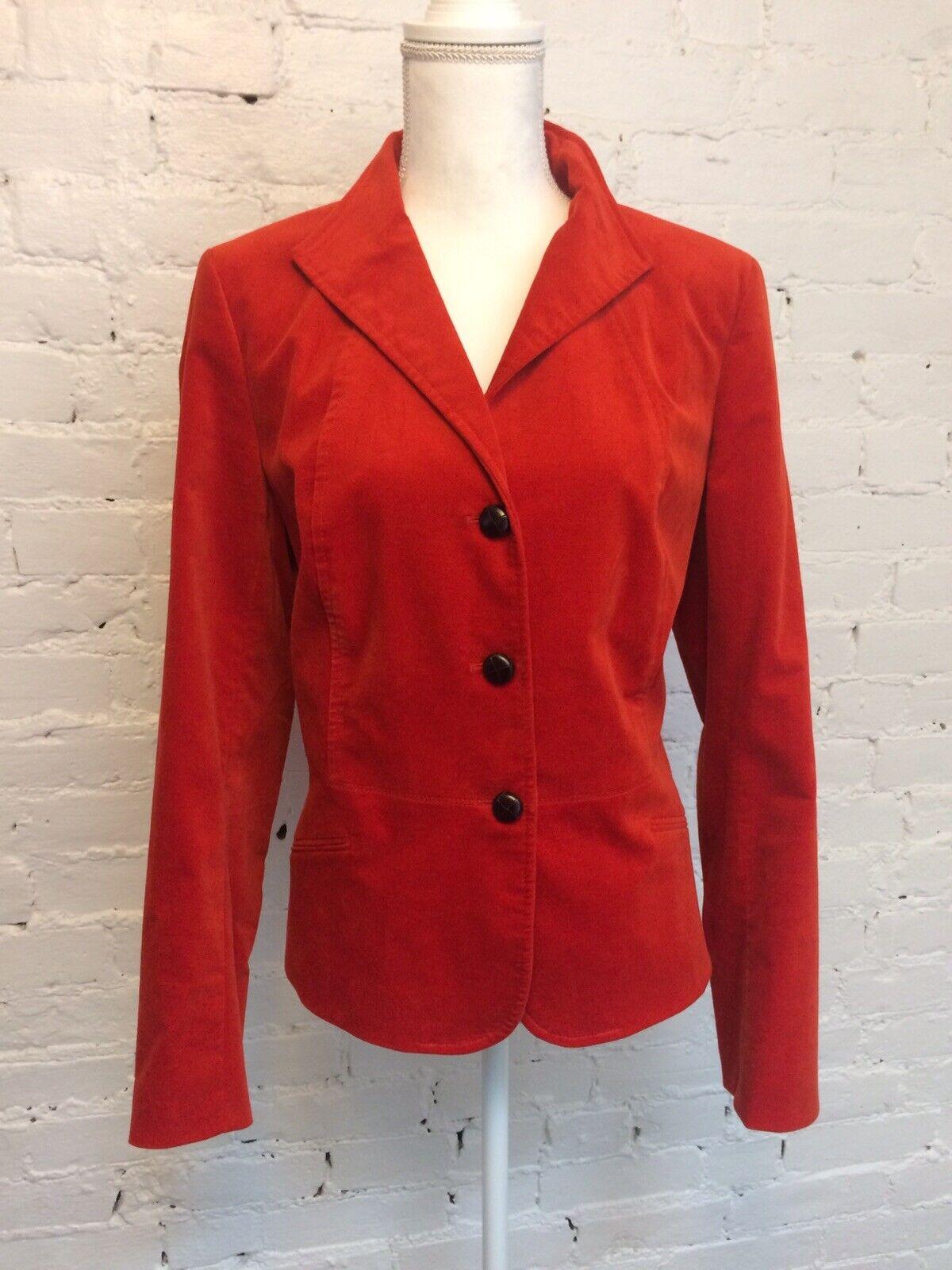 Talbots Velvet Peplum Single Brested Blazer Red s… - image 1