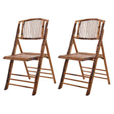Set of 2 Bamboo Folding Chairs Patio Garden Wedding Party Outdoor Furniture New